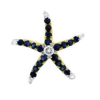 Sapphire And Diamond Starfish Pendant
