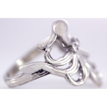 Sterling Silver Octopus Ring with CZ