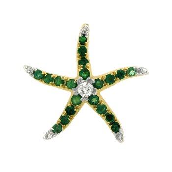 Emerald And Diamond Starfish Pendant