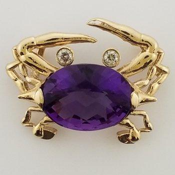 14K Crab Pendant with Amethyst