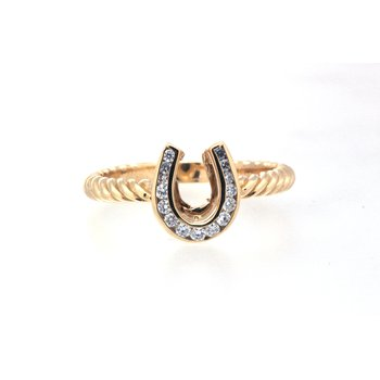 Yellow gold and diamond horseshoe ring with a twisted band
