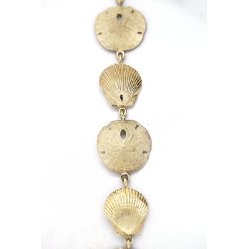 Yellow Gold Shell and Sand Dollar Bracelet
