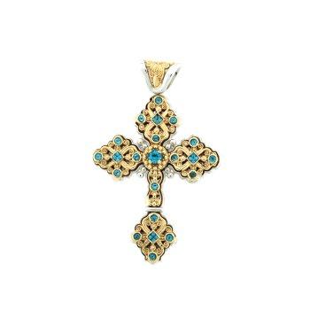 Cross Pendant With Blue Topaz