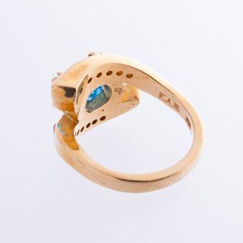 14K Horseshoe Nail Ring w Blue Topaz and Diamonds