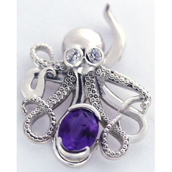 Sterling Silver Octopus Pendant with Amethyst and CZ