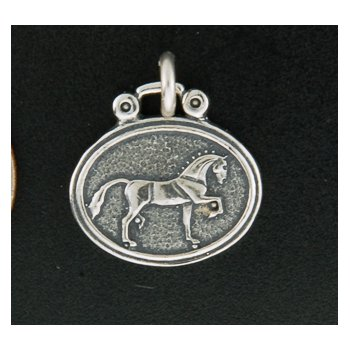 Sterling Show Hunter Horse Plaque Charm