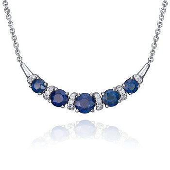 Sapphire & Diamond Curved Bar Necklace