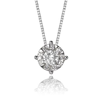 Diamond 'Bouquet' Solitaire Necklace