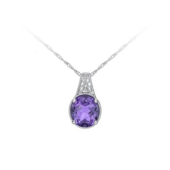 Amethyst & Diamond Necklace