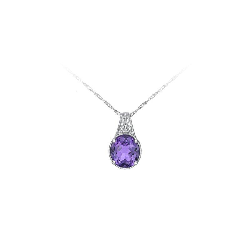 European Goldsmith Closeouts Amethyst & Diamond Necklace