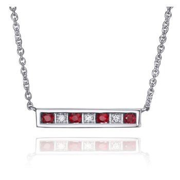 Diamond & Ruby Bar Necklace