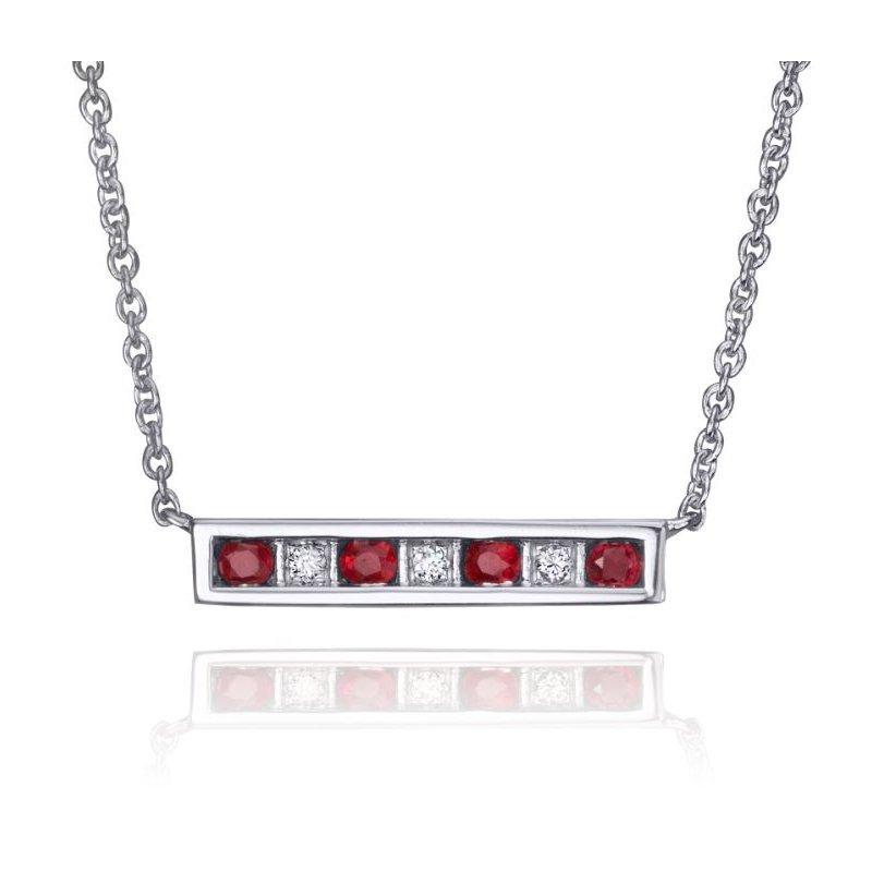 European Goldsmith Closeouts Diamond & Ruby Bar Necklace