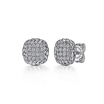 SS PAVE WHITE SAPPHIRE & ROPE FRAME STUD EARRINGS