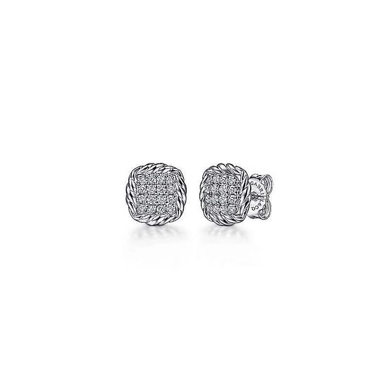 Gabriel & Co SS PAVE WHITE SAPPHIRE & ROPE FRAME STUD EARRINGS