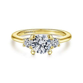 14KY 0.28TDW RND 3 STONE SEMI-MOUNT ENGAGEMENT RING