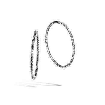 Classic Chain Silver Large Hoop Earrings