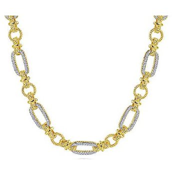 14KTT 16IN 0.75TDW OVAL & TWISTED ROPE LINK PAVE NECKLACE