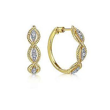 14KY 0.34TDW 20MM TWISTED LAYERED HOOP EARRINGS
