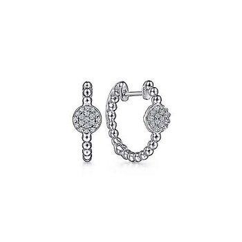 SS 0.17TW PAVE WHITE SAPPHIRE FASHION HUGGIE EARRINGS