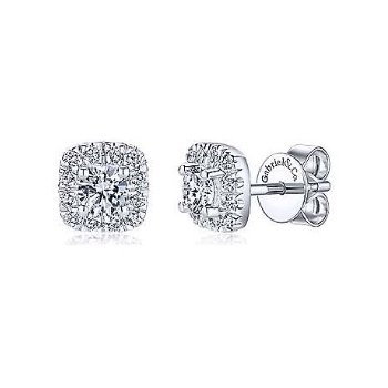 14KW 0.39TDW CUSHION HALO STUD EARRINGS