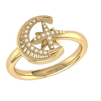 SS/14KYGP SZ 7 0.06TDW MOON-CRADLED STAR RING