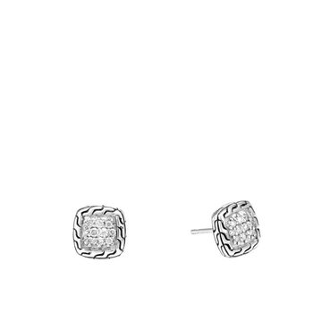 Classic Chain Stud Earrings with Diamonds