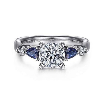 14KW 0.09TDW 0.51TSW RND CNTR 5 STONE SEMI-MOUNT ENGAGEMENT RING