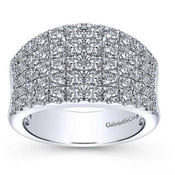 14K White Gold Wide Band Pave Diamond Ring