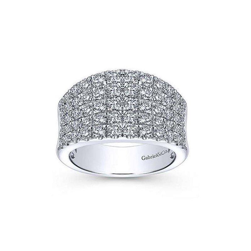 Gabriel & Co 14K White Gold Wide Band Pave Diamond Ring