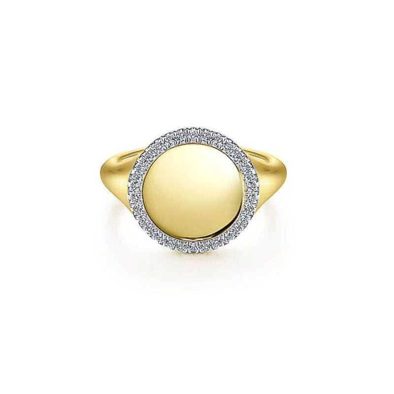 Gabriel & Co 14KY 0.14TDW PINKY SIGNET HALO RING