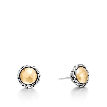 Classic Chain Round Hammered Stud Earring
