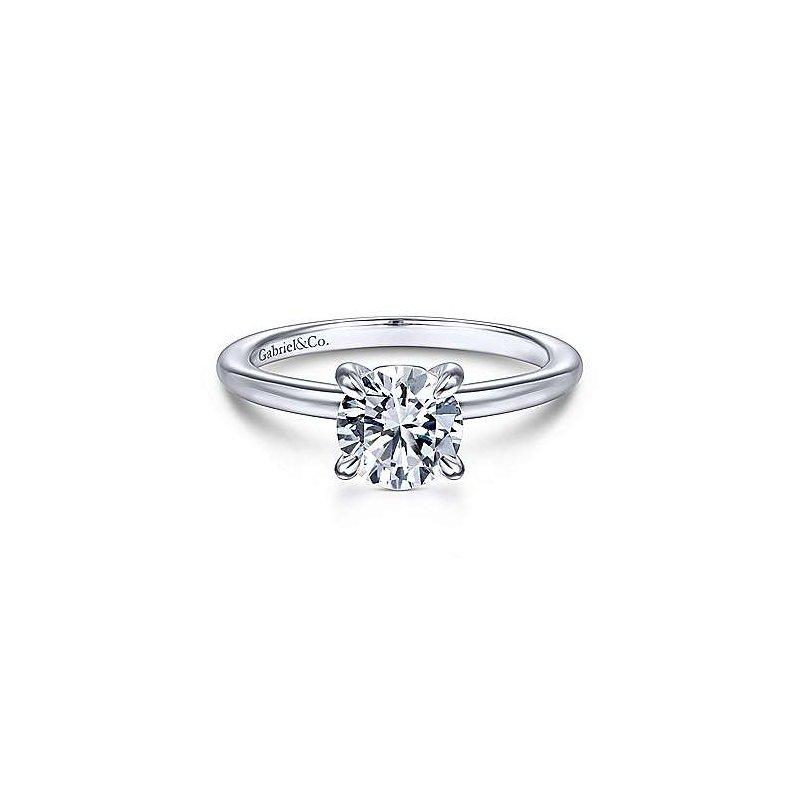Gabriel & Co 14K White Gold Round Diamond Engagement Ring