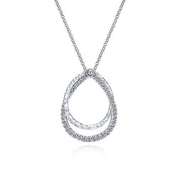 SS 17.5IN WHITE SAPPHIRE LAYERED DOUBLE TEARDROP NECKLACE