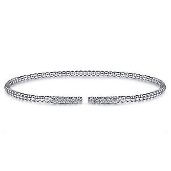 14KW 6.5IN 0.30TDW PAVE BARS BEADED BUJUKAN CUFF BRACELET