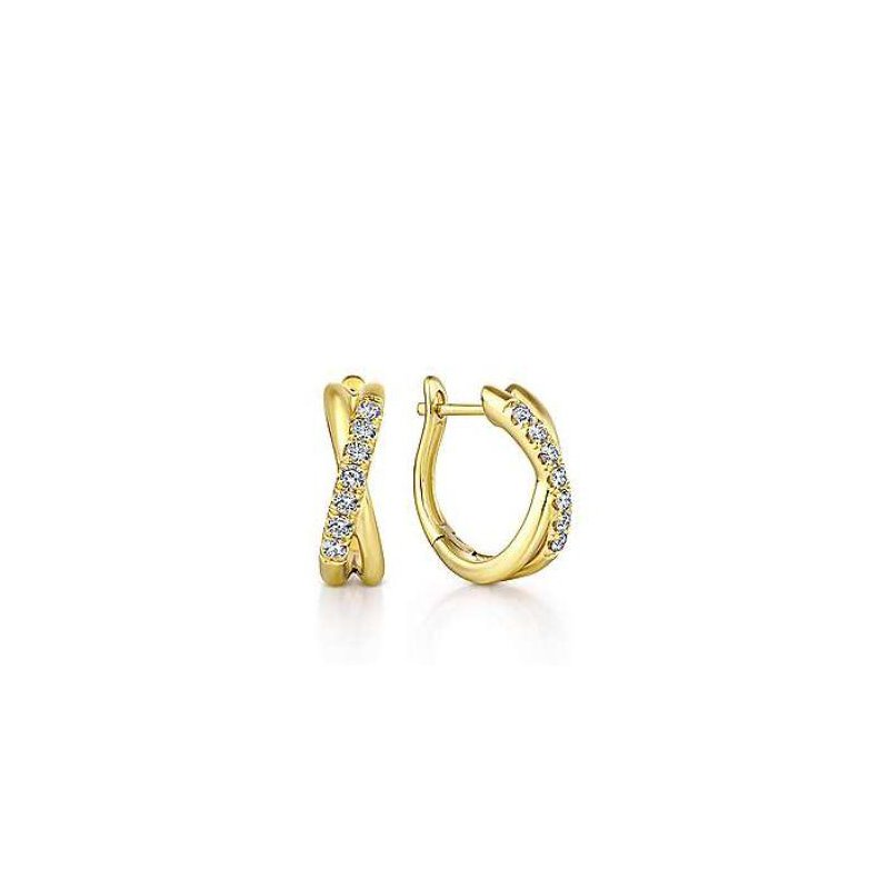 Gabriel & Co 14K Yellow Gold Twisted 15mm Diamond Huggies