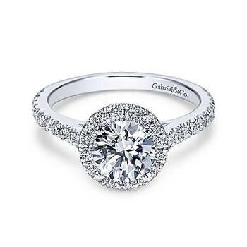 14KW 0.63TDW RND HALO SEMI-MOUNT ENGAGEMENT RING