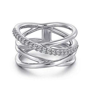 SS WHITE SAPPHIRE INTERSECTING RING