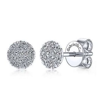 14KW 0.24TDW ROUND PAVE STUD EARRINGS