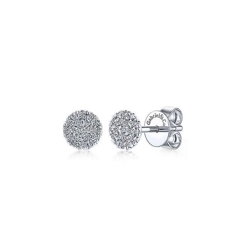 Gabriel & Co 14KW 0.24TDW ROUND PAVE STUD EARRINGS