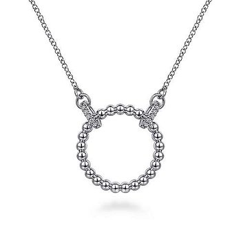 SS 17.5IN 0.06TW WHITE SAPPHIRE OPEN CIRCLE BUJUKAN PENDANT NECKLACE