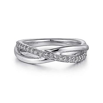 SS WHITE SAPPHIRE PAVE CRISS CROSS RING