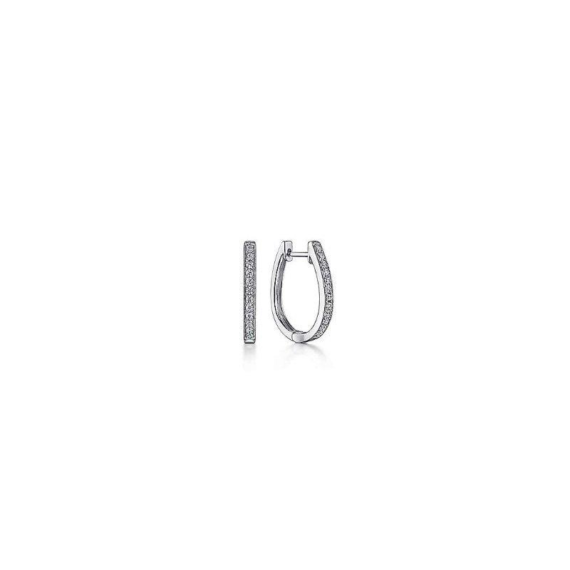 Gabriel & Co 14K White Gold 20mm Slim Pavé Diamond Huggies