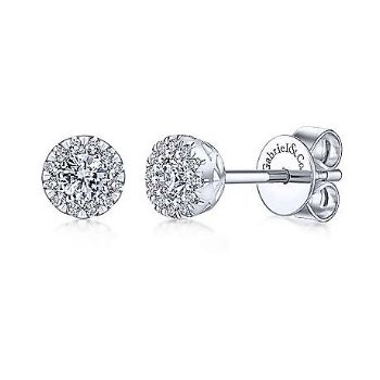 14KW 0.25TDW HALO STUD EARRINGS