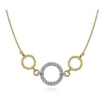 14KTT 15.5IN 0.26TDW TWISTED ROPE & PAVE CIRCLE NECKLACE