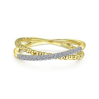 14KY 0.08TDW PAVE BEADED CRISS CROSS RING