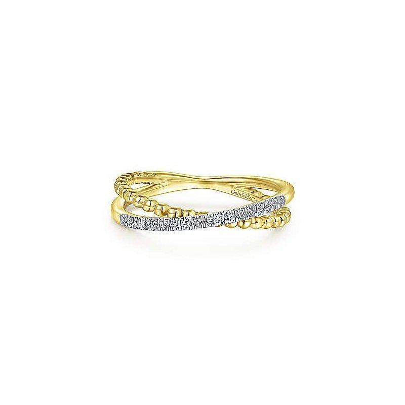 Gabriel & Co 14KY 0.08TDW PAVE BEADED CRISS CROSS RING