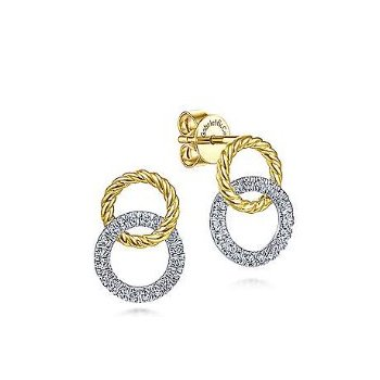 14KTT 0.24TDW OPEN CIRCLE TWISTED ROPE STUD EARRINGS