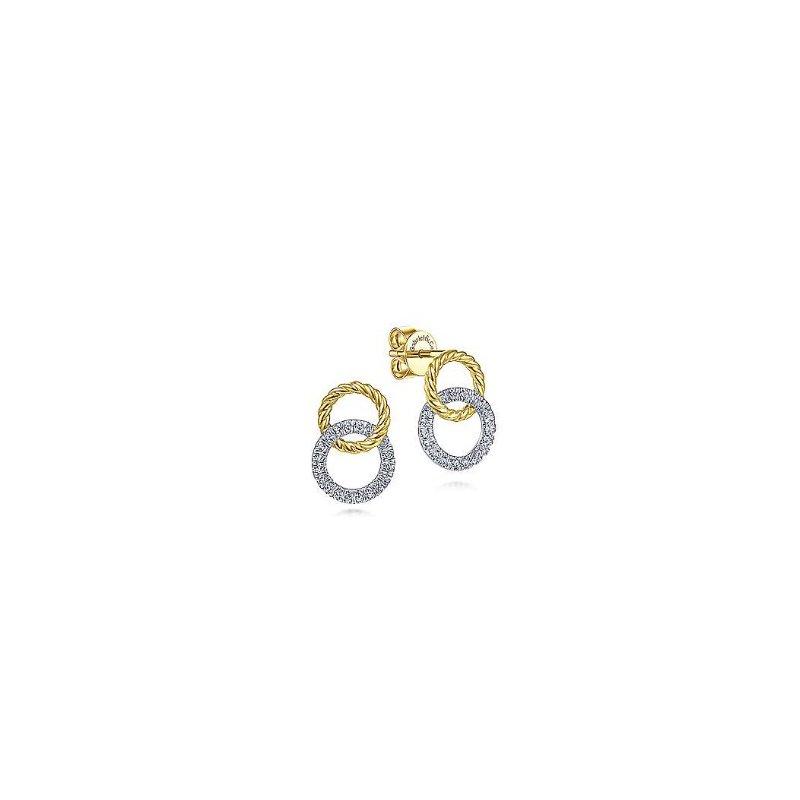 Gabriel & Co 14KTT 0.24TDW OPEN CIRCLE TWISTED ROPE STUD EARRINGS