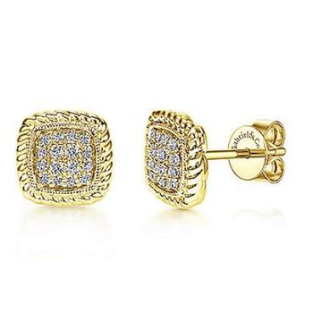 14KY 0.17TDW TWISTED CLUSTER STUD EARRINGS