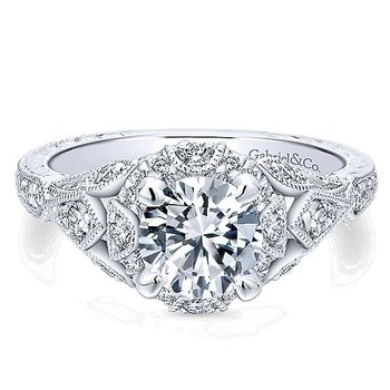 14KW 0.37TDW VINTAGE INSPIRED HALO SEMI-MOUNT ENGAGEMENT RING